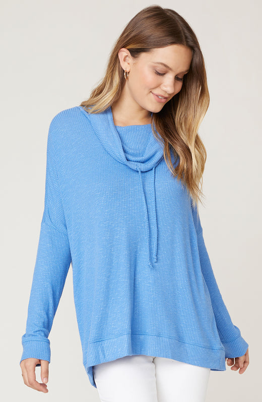 Model wearing blue cowl neck top