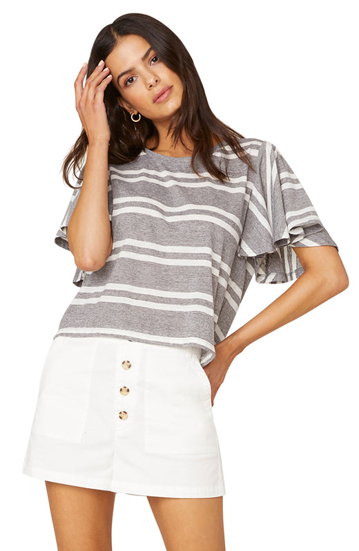 Model wearing striped tee with flutter sleeves
