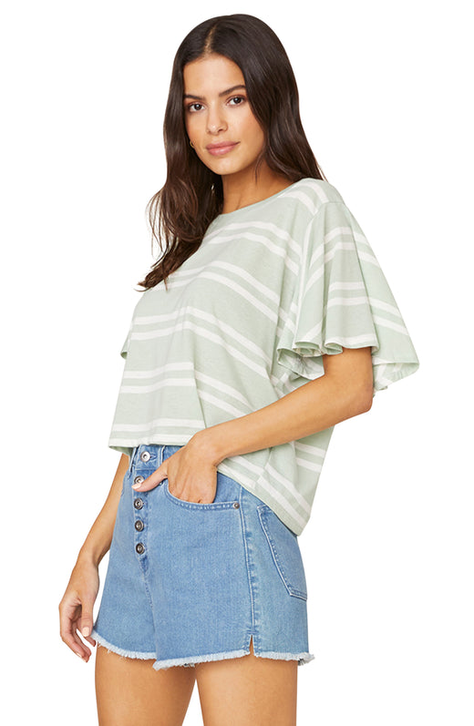 Side view of model wearing striped tee with flutter sleeves