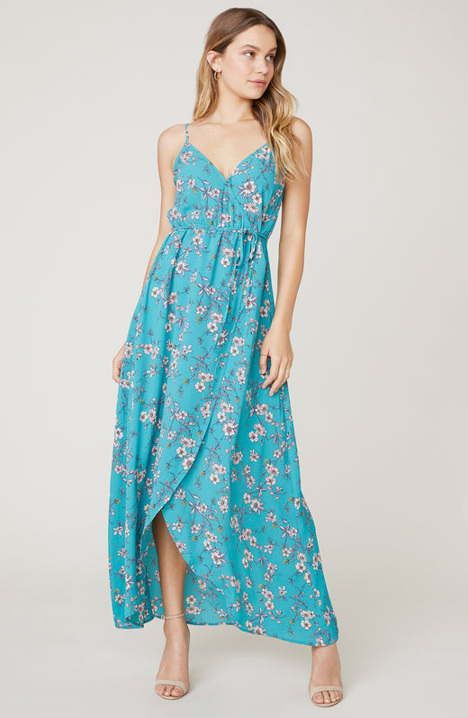 Model wearing floral maxi dress