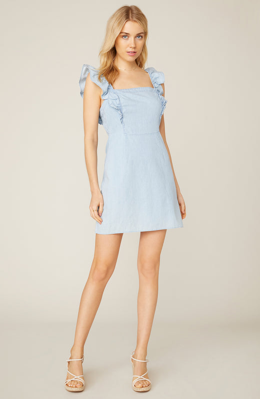 Chambray All Day Ruffled Dress