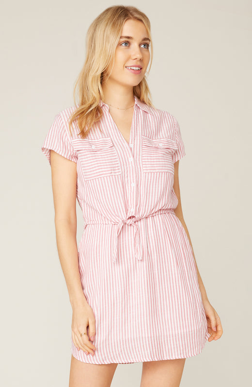 Model wearing coral striped shirt dress