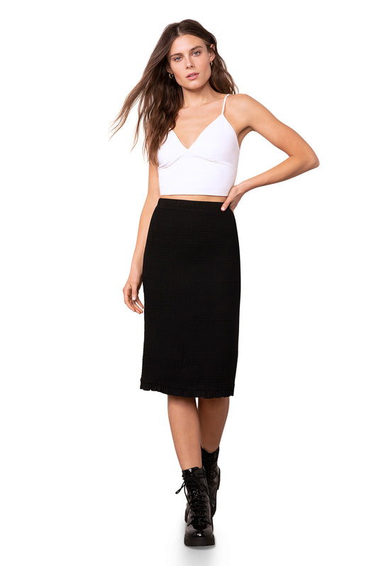 knee length curve-hugging smocked stretch pencil skirt with a pull-on waistband.