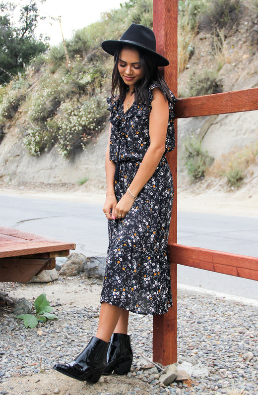 Budding Romance Printed Midi Dress