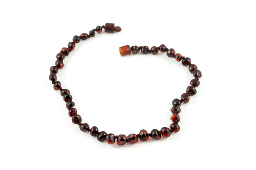 100% Certified Baltic Amber Necklace - Polished Cherry
