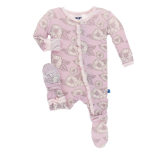 Kickee Pants - Fall Paris - Classic Layette Ruffle Footie in Sweet Pea Poppies