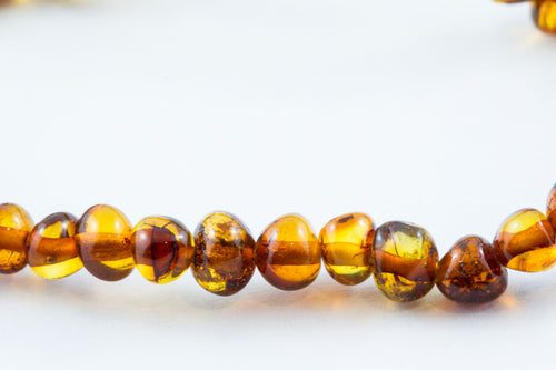 100% Certified Baltic Amber Necklace - Polished Cognac