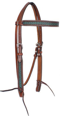 TURQUOISE TOOLED BROWBAND HEADSTALL
