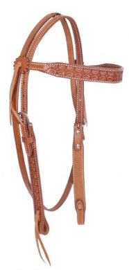 SCALLOP TOOLED LEATHER BROWBAND HEADSTALL
