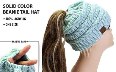 CC BRAND MESSY BUN PONY TAIL BEANIE