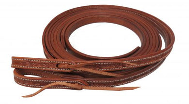 5/8 X 8 FT LEATHER BARB WIRE TOOLED SPLIT REINS