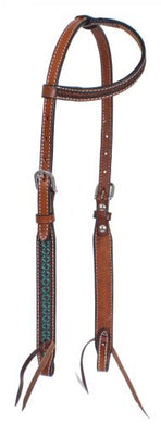TURQUOISE PATTERN ONE EAR HEADSTALL