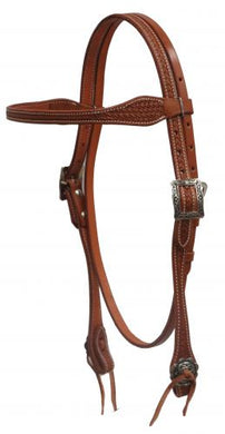 LEATHER BASKET STAMPED BROWBAND HEADSTALL