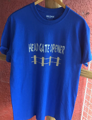 BLUE AND SILVER HEAD GATE OPENER TEE