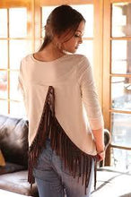 CRUEL GIRL CREAM AND BROWN FRINGE TOP