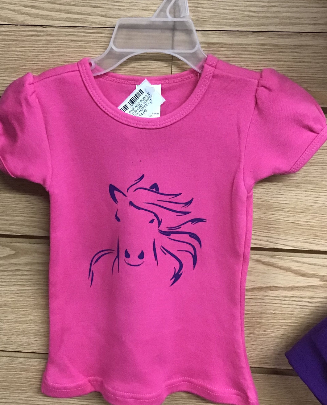 GIRLS PINK AND PURPLE RUFFLED SHORT SLEEVE TEE WITH HORSE
