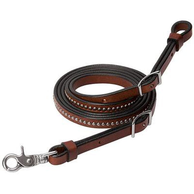 BRIDLE LEATHER ROPER REIN WITH ETCHED SPOTS, 5/8
