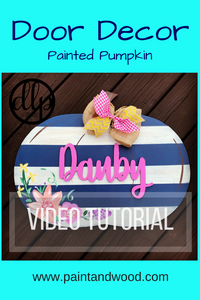 Striped Floral Pumpkin Fall Door Decor Painitng Tutorial