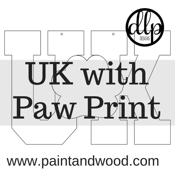 UK with Paw Print - Unfinished