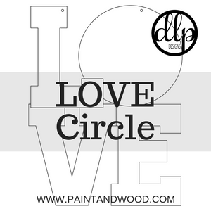 LOVE with Circle Door Hanger - Unfinished