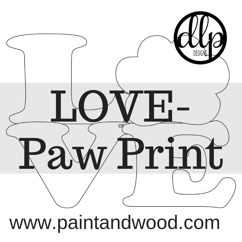 LOVE Paw Print Door Hanger - Unfinished