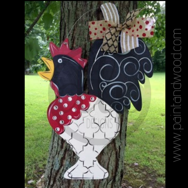 Rooster Door Hanger - Unfinished