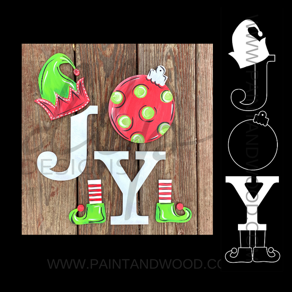 Elf JOY Porch Sign Letters - Unfinished