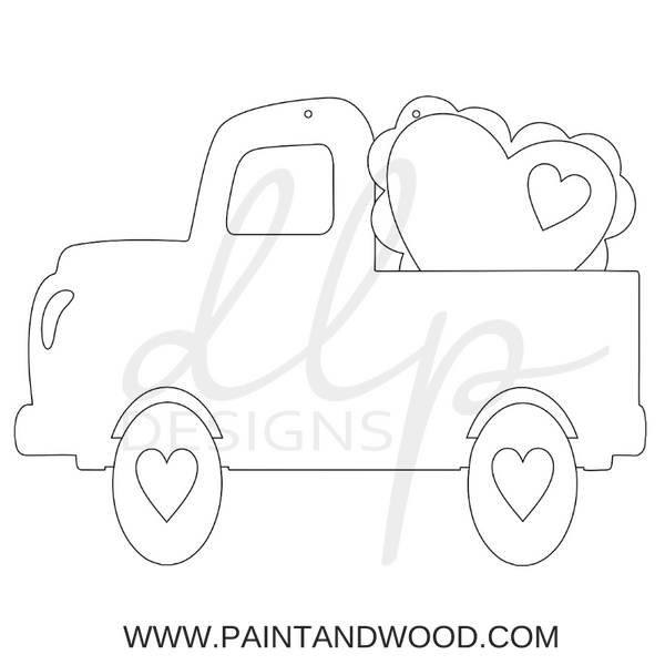 Valentine Truck with Heart Door Hanger - Unfinished
