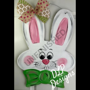 Easter Bunny with Bow Tie HOP Door Hanger - Unfinished