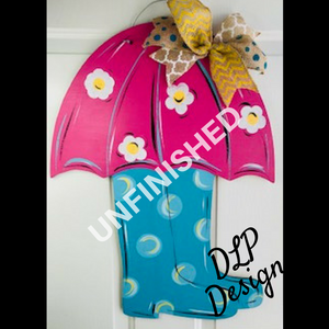 Umbrella and Rubber Boots Door Hanger - Unfinished