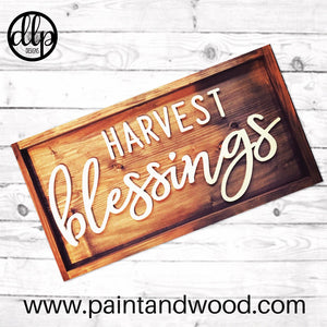 Harvest Blessings Sign Lettering - Unfinished