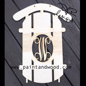 Winter Snow Sled Door Hanger - Unfinished
