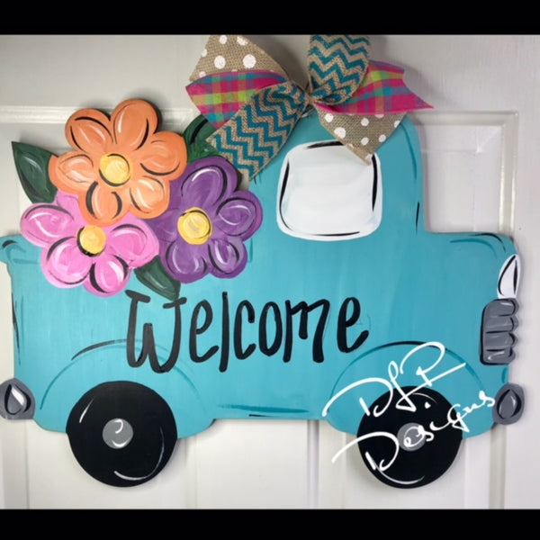 Truck with Flowers Door Hanger - Unfinished