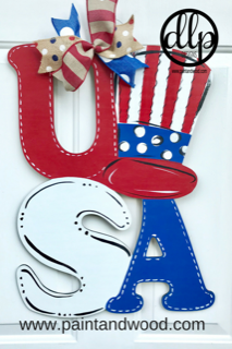 USA with Hat Door Hanger - Unfinished