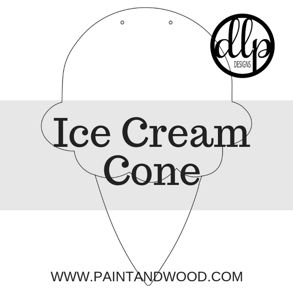 Ice Cream Cone Door Hanger - Unfinished