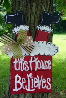 Santa in Chimney Door Hanger - Unfinished