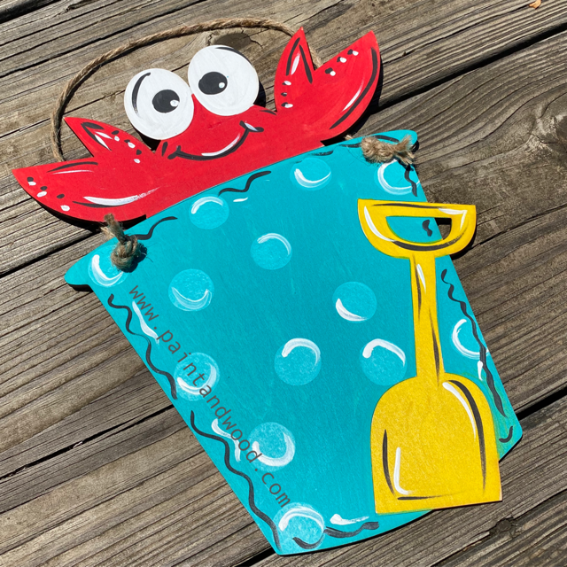 Crab in Sand Bucket Door Hanger - Unfinished
