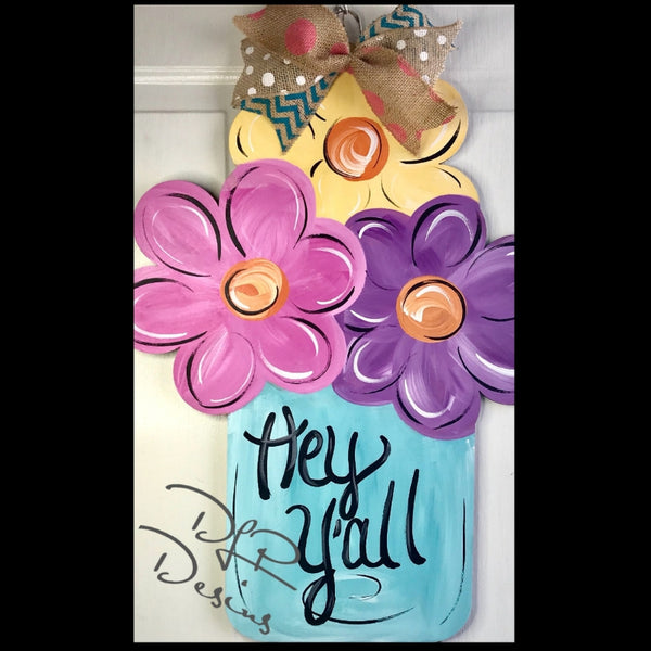 Mason Jar with Flowers Door Hanger - Unfinished