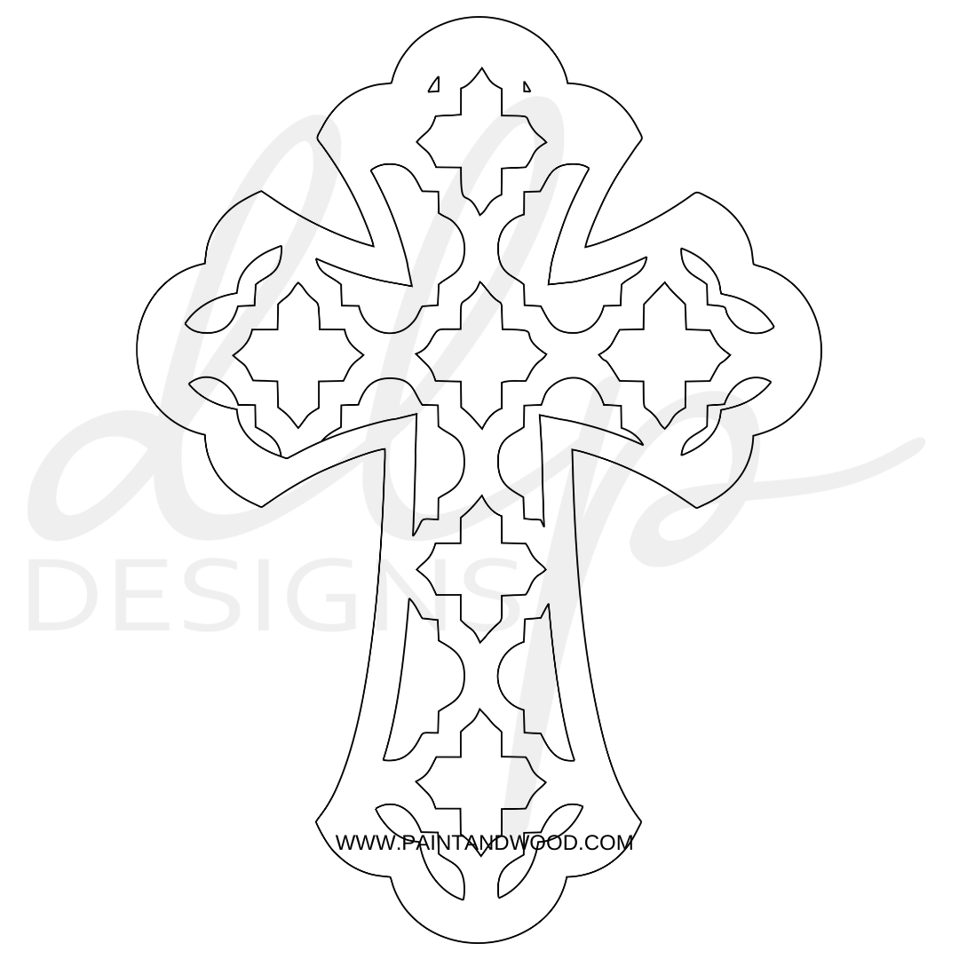 Cross Quatrefoil Cutout Door Hanger - Unfinished