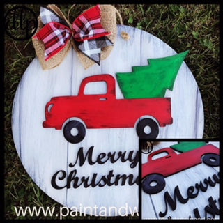 Christmas Truck with Tree Door Hanger - Unfinished