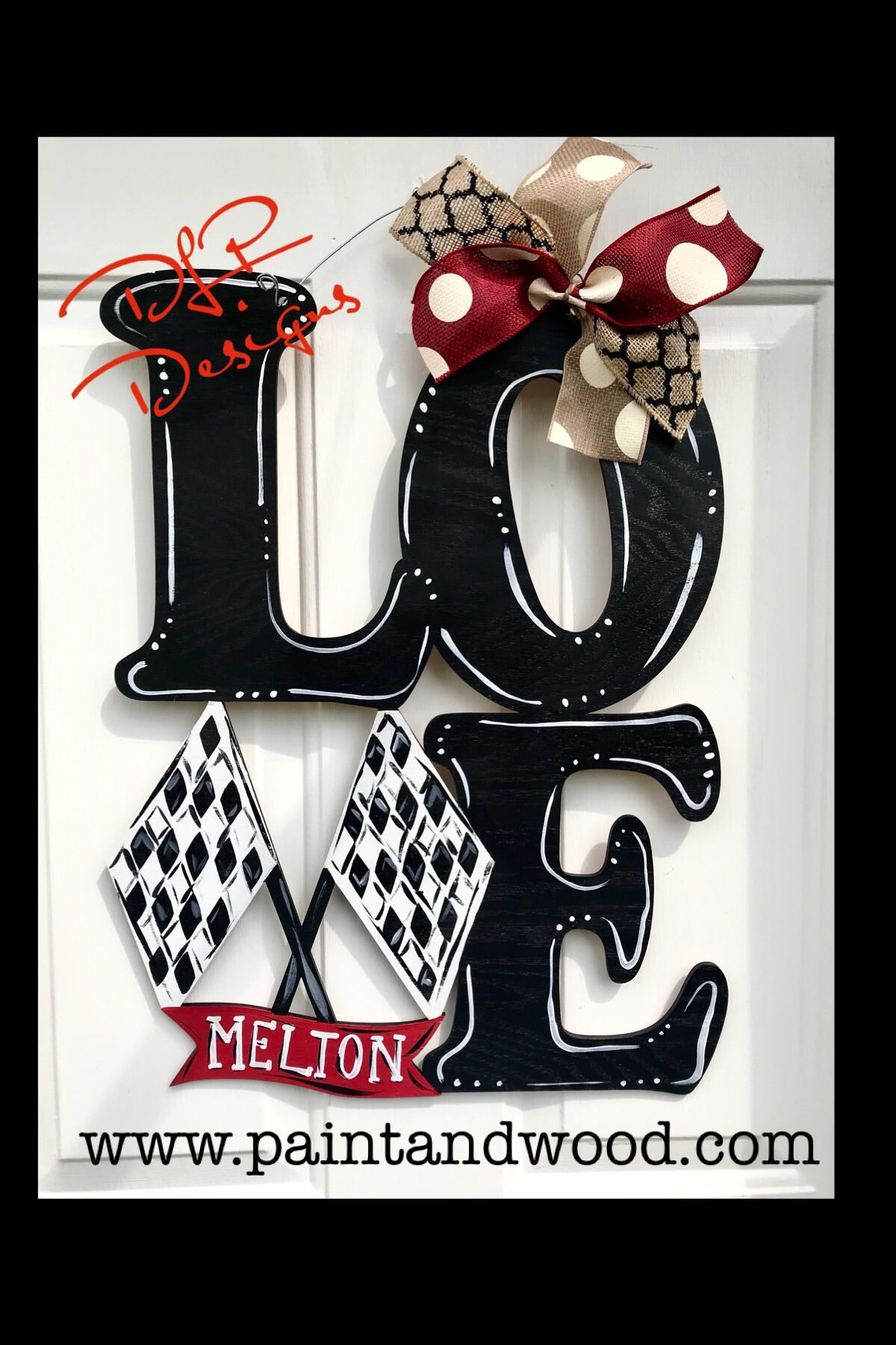 LOVE - Racing Door Hanger - Unfinished