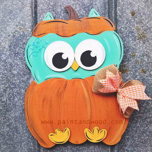 Pumpkin with Owl Door Hanger - Unfinished