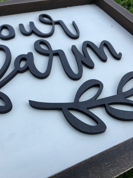 Our Farm Sign Lettering - Unfinished
