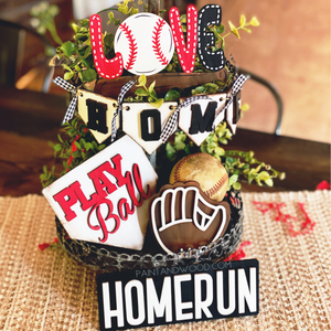 Baseball Softball Tiered Tray Decor