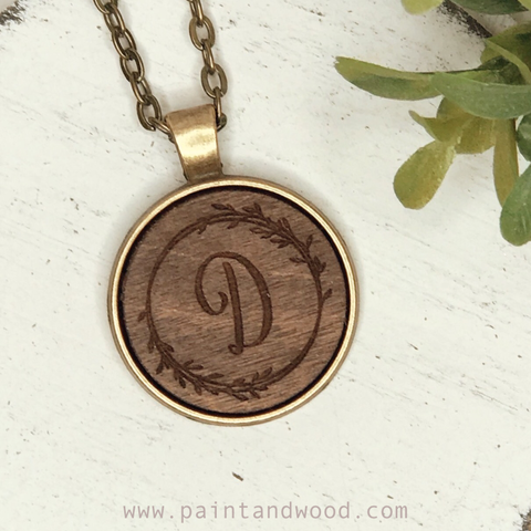 Initial Necklace with Wood Engraved Pendant