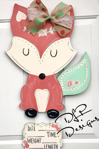 Baby Fox Door Hanger - Unfinished