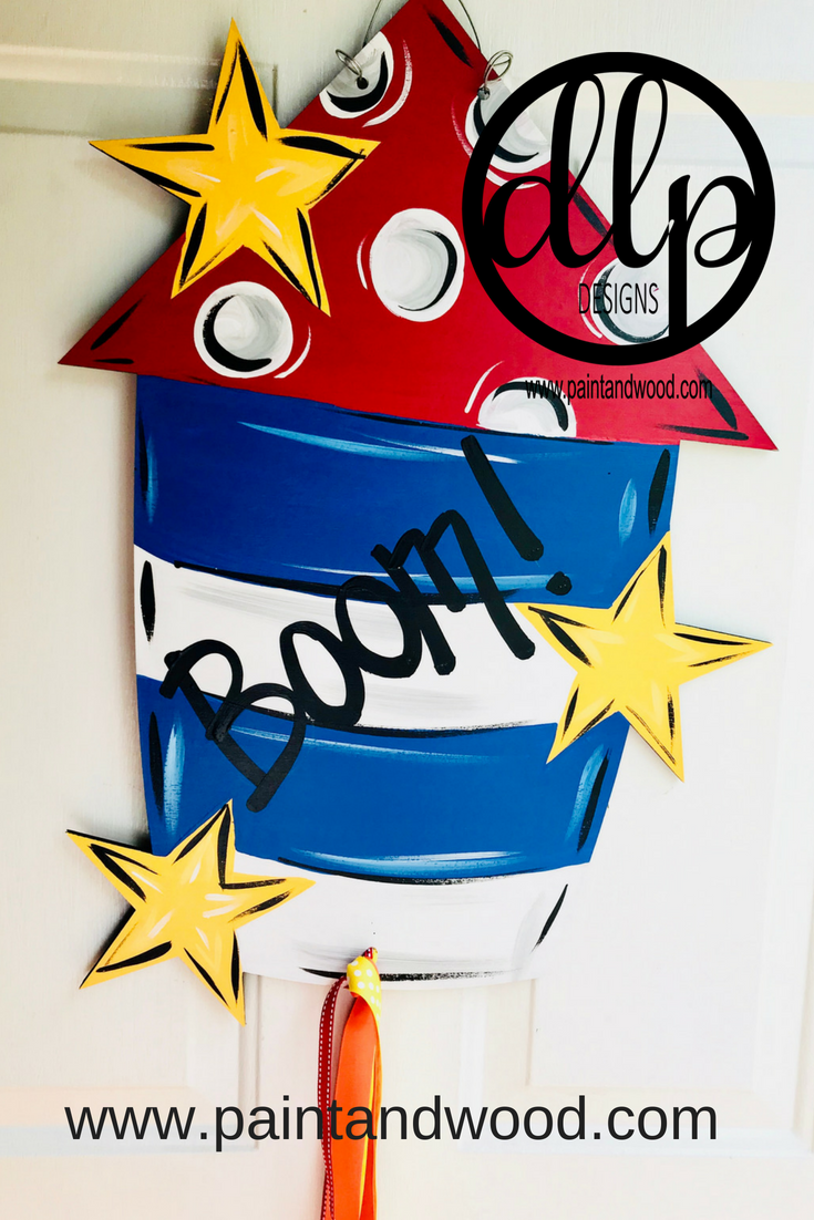Patriotic Fire Cracker with Stars Door Hanger - Unfinished
