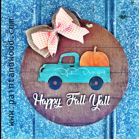 Farmhouse Round with Fall Truck Door Hanger - Unfinished