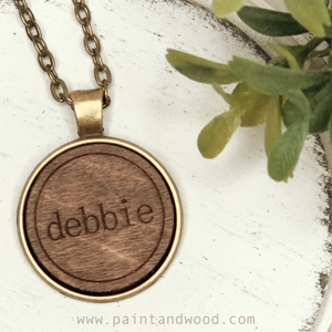 Name Necklace with Wood Engraved Pendant