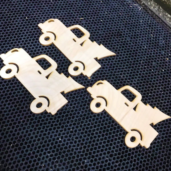 Christmas Truck Ornament - Unfinished